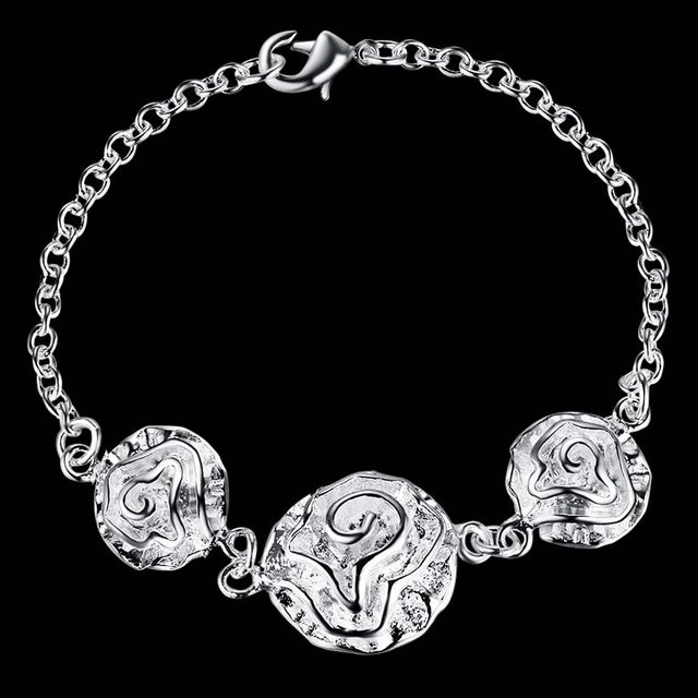 Свадебные украшения! Aaa 925 серебряный браслет для женщин, Высокое качество 3 цветы цепи и ссылка браслеты чистого серебра…