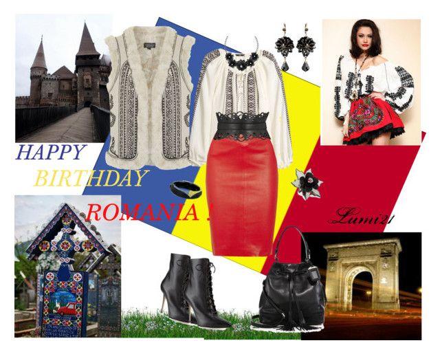 HAPPY BIRTHDAY ROMANIA! by lumi-21 on Polyvore featuring H&M, Topshop, Maje, Prada, J by Jasper Conran, Alexis Bittar, Betty Jackson, Romania, romanian and romanianstyle