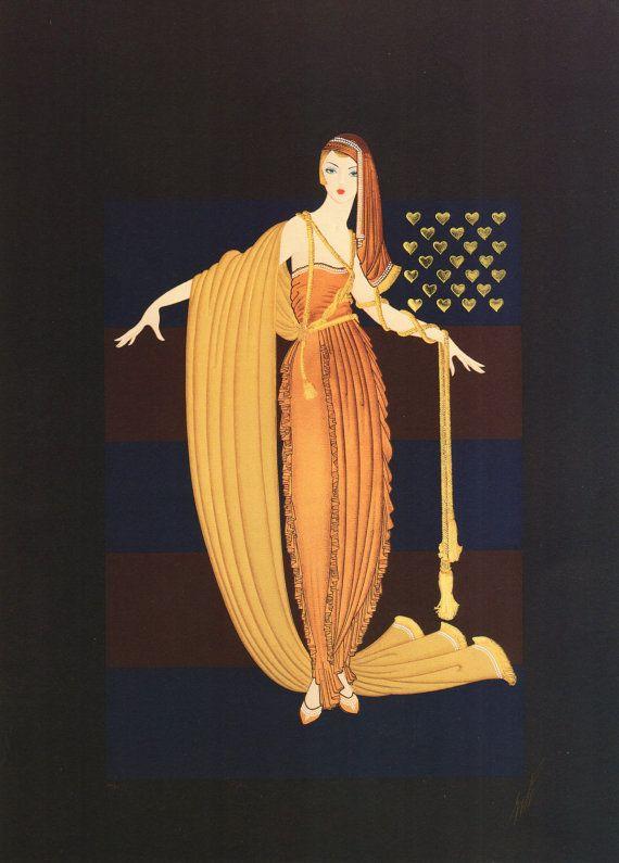 "2 vintage ERTE Art Deco ""Fringe Cape & kwast Gown"" Fashion platen afdrukken"