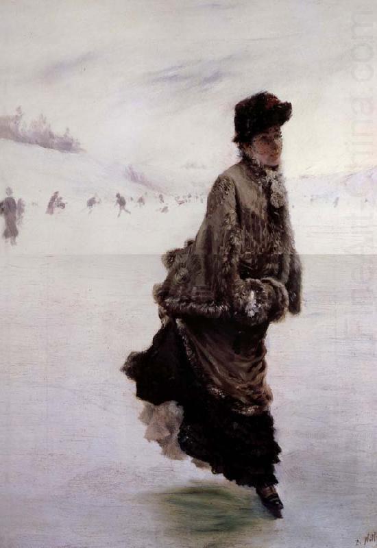Giuseppe De Nittis (Italian 1846–1884) [Impressionism, Salon] La Patineuse.