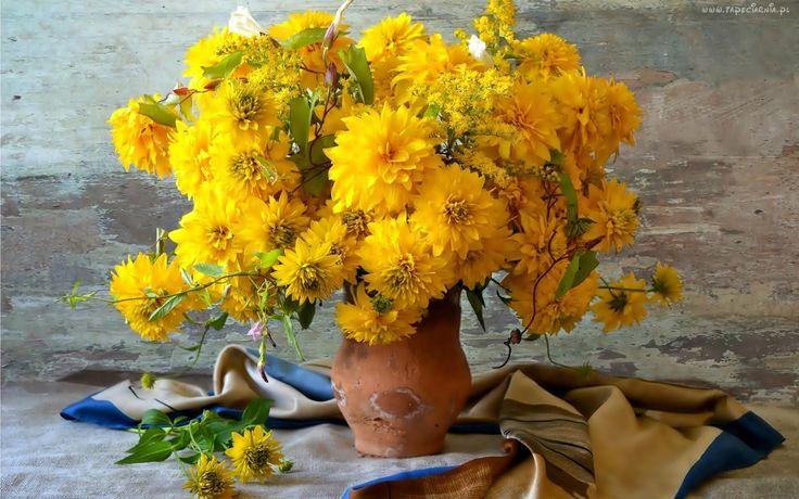 Bukiet, Kwiatów, Rudbekia, Dzban, Kompozycja, Jesień
