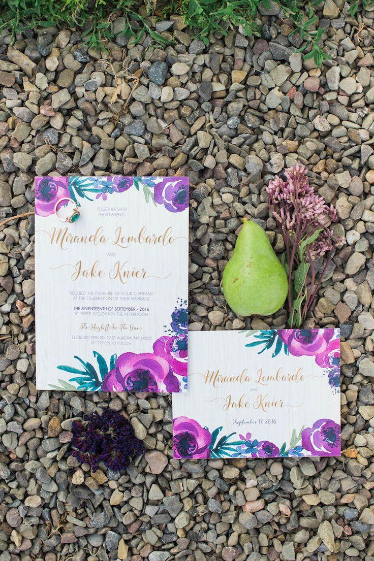 confetti daydreams wedding invitations%0A Purple   Gold Rustic Chic Wedding Ideas  Catherine Smeader Photography