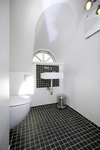 Black toilet seat?  How high up on the wall should the tiles reach?  White tiles on wall, black tiles on floor