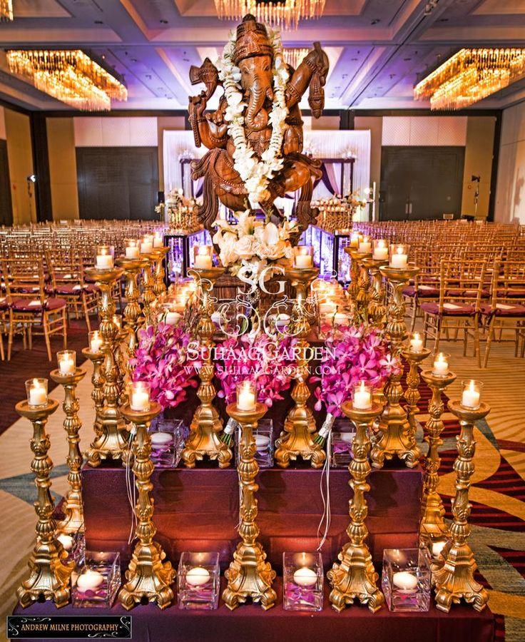 Suhaag Garden, Florida Indian Wedding Decorators, California Indian Wedding Decorators, Wooden Ganesh, Ganesh Table, Rose Garland, Entrance Decor, Foyer Decor, Ganesh Garland, Hilton Downtown Tampa Florida