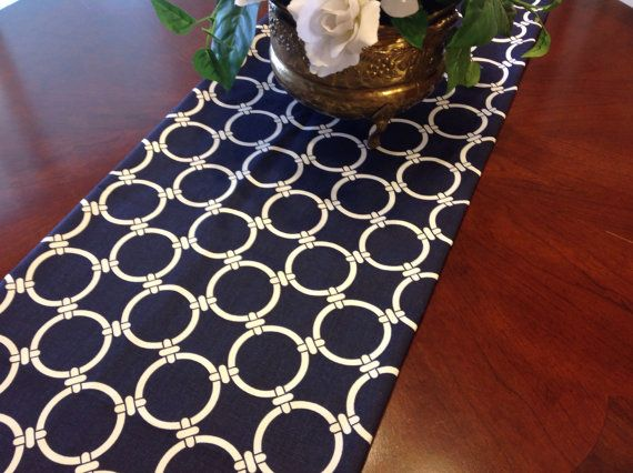 Table Runner Navy And White Geometric Circles By Fourbugsinarug, $15.00