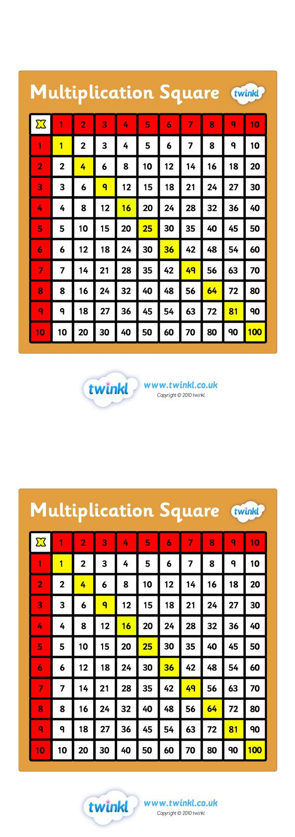 Twinkl Resources >> Multiplication Square  >> Classroom printables for Pre-School, Kindergarten, Primary School and beyond! education, home school, free, maths, multiplication square, mathematics, times table,