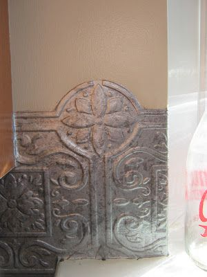 Fake-It Frugal: Fake Punched Tin Backsplash..  MY heart is racing.. I have a lot projects I can use this method on.