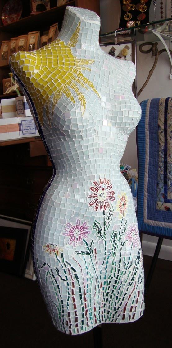 Amazing mosaic'ed mannequin by Kathleen Corpuz