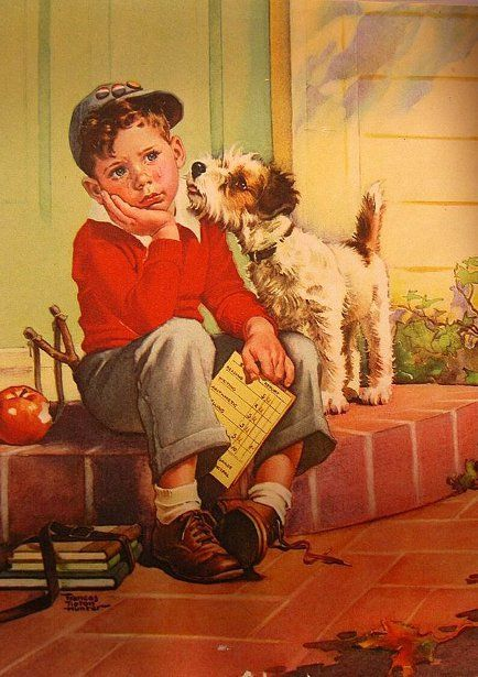 Boy thinking on step with dog by Frances Tipton Hunter - Title?