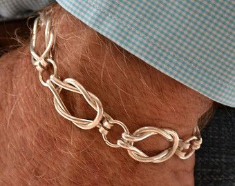 Men's Sailors Knot Link bracelet Will NOT ship until after 12/25/17 Heavy weight Sterling silver.
