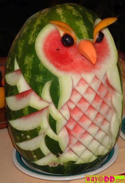 Watermelon OwlIdeas, Recipe, Summer Parties, Watermelon Art, Watermelon Carvings, Fruit Art, Foodart, Food Art, Watermelon Owls