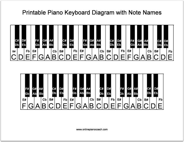 30fd1f44338 Printable Piano Keyboard Diagram in 2019