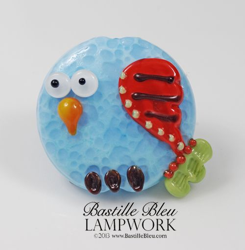 blue tweedy bird focal bbl handmade lampwork glass beads sra