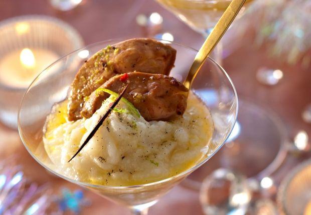 Le foie gras chaud et purée de topinambours
