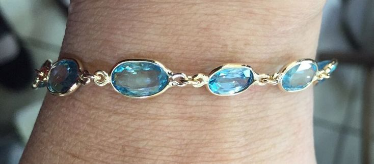 14k Solid Gold Lobster Clasp Bracelet with Natural Light Blue Zircon 8.09GM #Handmade