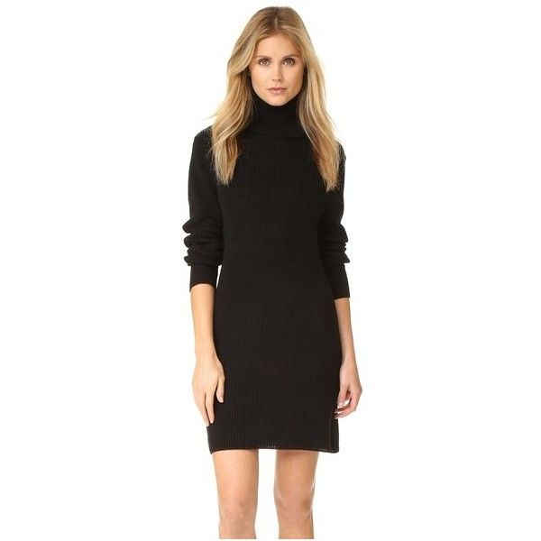 525 America Cotton Shaker Sweater Dress (6,580 INR) ❤ liked on Polyvore featuring dresses, black, long sleeve sweater dress, turtleneck sweater dress, long sleeve turtleneck dress, long-sleeve turtleneck dresses and longsleeve dress