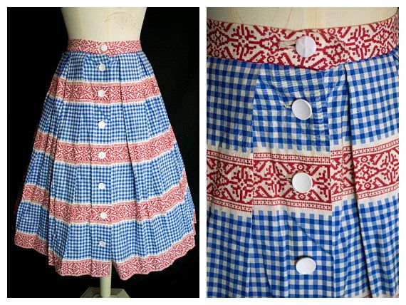 6b57f681a4fc This original vintage skirt has been made in the 1950s from cotton which  has been decorated with a blue gingham and red continental tile pattern in  ...