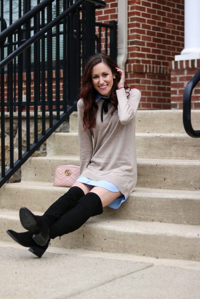 #AskE Q&A post - Tips for New Bloggers, Work-Life Balance, Closet Cleanout, + MORE by popular Philadelphia fashion blogger Coming Up Roses, preppy outfits, preppy winter outfits, over the knee boot outfits, over the knee boots, gucci bag, pink gucci bag, preppy fall outfits, over the knee boot outfit, over the knee boot outfit winter, over the knee boot outfit fall