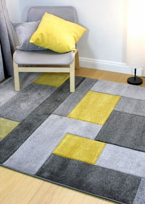 Hand Carved Cosmos Grey Ochre Rugs