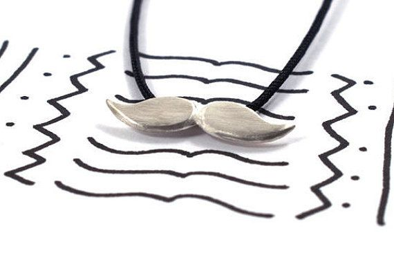 Mustache necklace sterling silver pendant hipster by Akatergasto