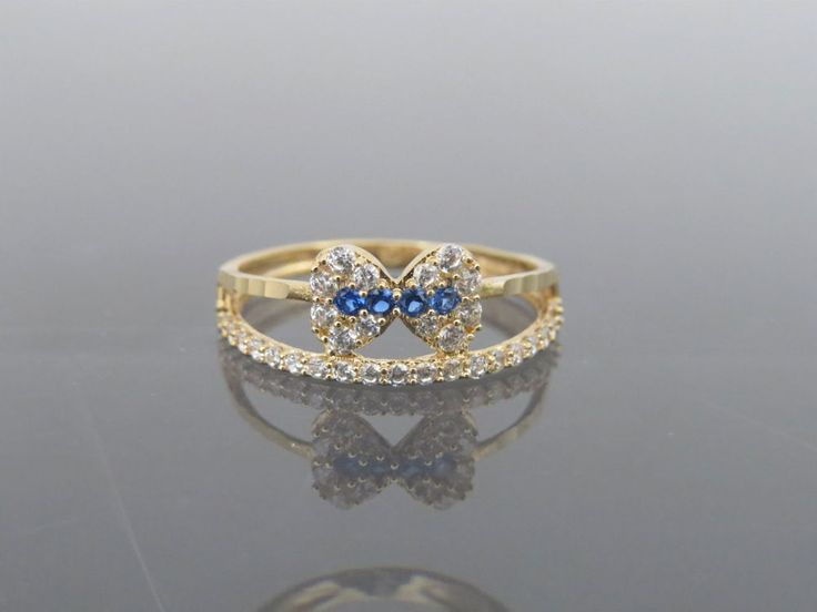 Vintage 18K Solid Yellow Gold Blue Sapphire & White Topaz Bow Band Ring Size 6 | Jewelry & Watches, Fine Jewelry, Fine Rings | eBay!