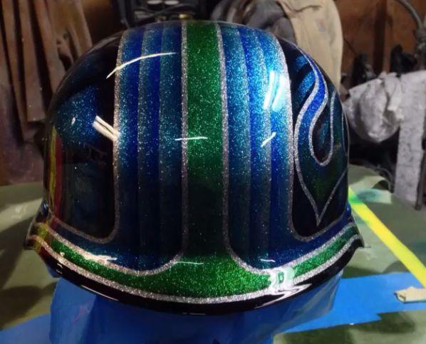 custom metal flake paint german motorcycle helmet