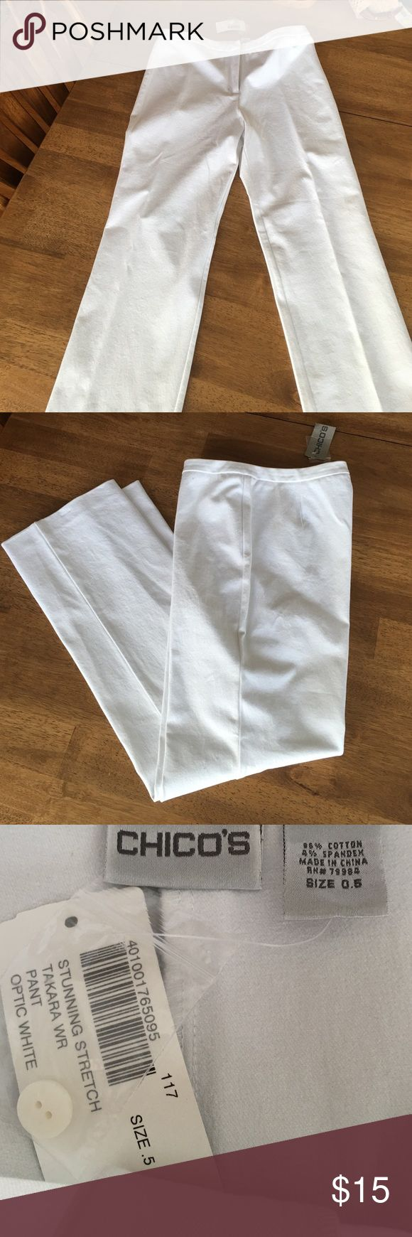 Chico's optic  white heavy cotton and spandex pant Chico's optic white, stunning stretch Takara straight leg pant. Size 0.5. Never worn. Excellent condition. chicos Pants Straight Leg