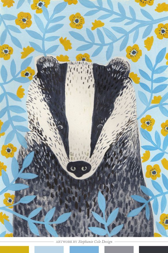 I love badgers and this graphic shows how well the black and white markings stand out on a floral background :)
