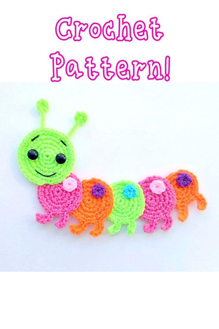 Caterpillar applique Crochet pattern, cute applique pattern for bags ...