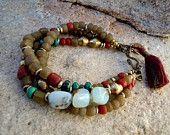 Böhmischen Schmuck / Böhmisches Armband / Boho / Gypsy-Schmuck / indonesischen Handel Perlen / peruanischer Opal / Gypsy-Armband / Tassel Armband