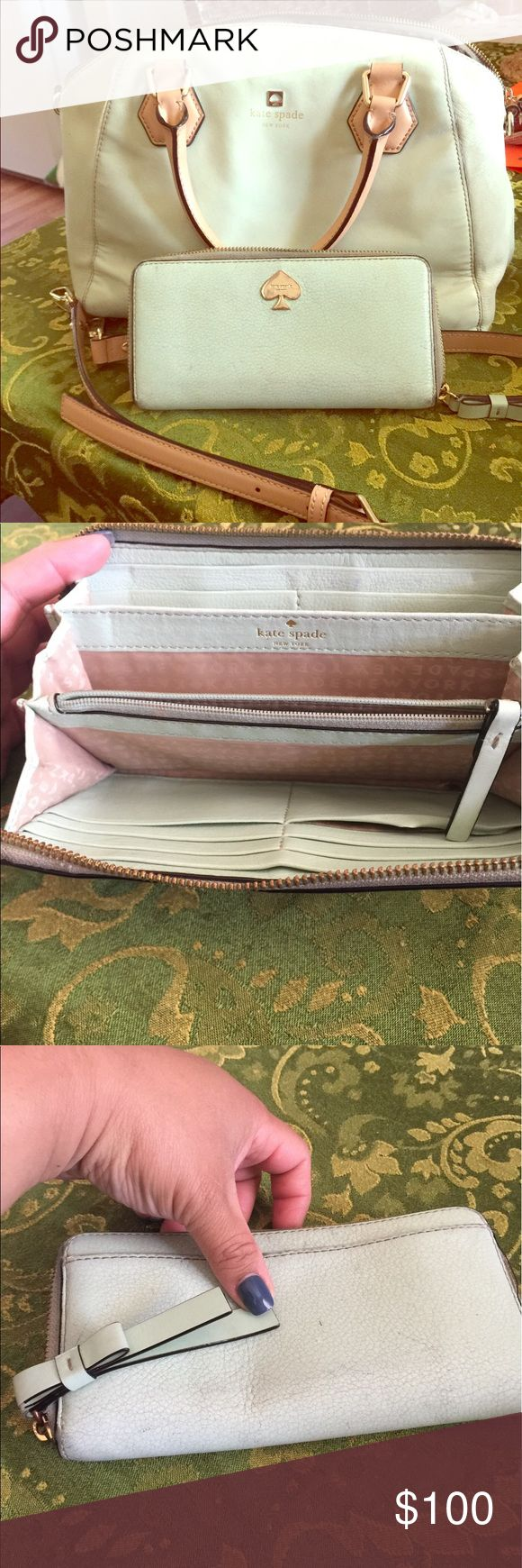 Kate spade ♠️ 💥💥💥Sale💥✋️set Used has life but used and inside has some stains, outside leather is good !! Dirty but good condition same as wallet !! Expensive set but needs ❤️ (cleaning) kate spade Bags Crossbody Bags
