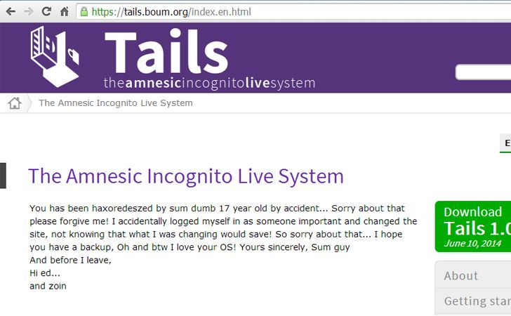 'Tails' Operating System Website Has Been Hacked