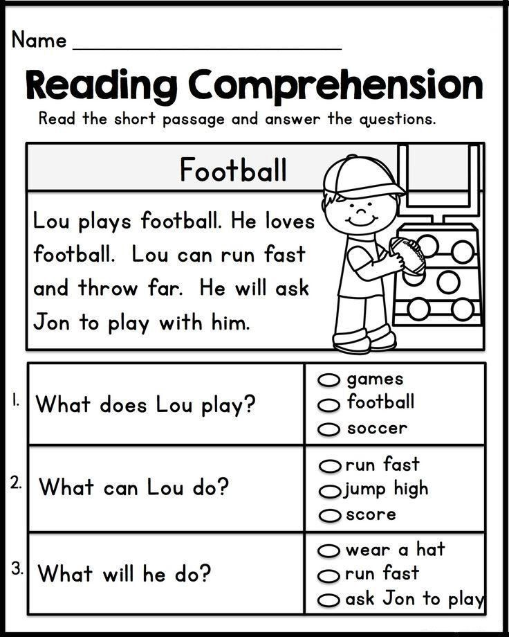 1st Grade English Worksheets Reading Comprehension Kindergarten