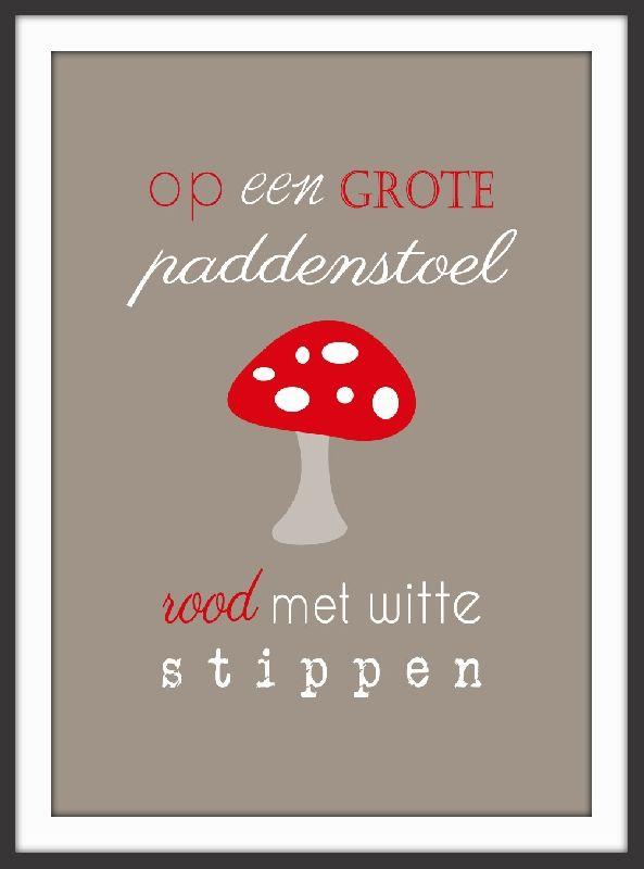 Poster op een grote paddenstoel