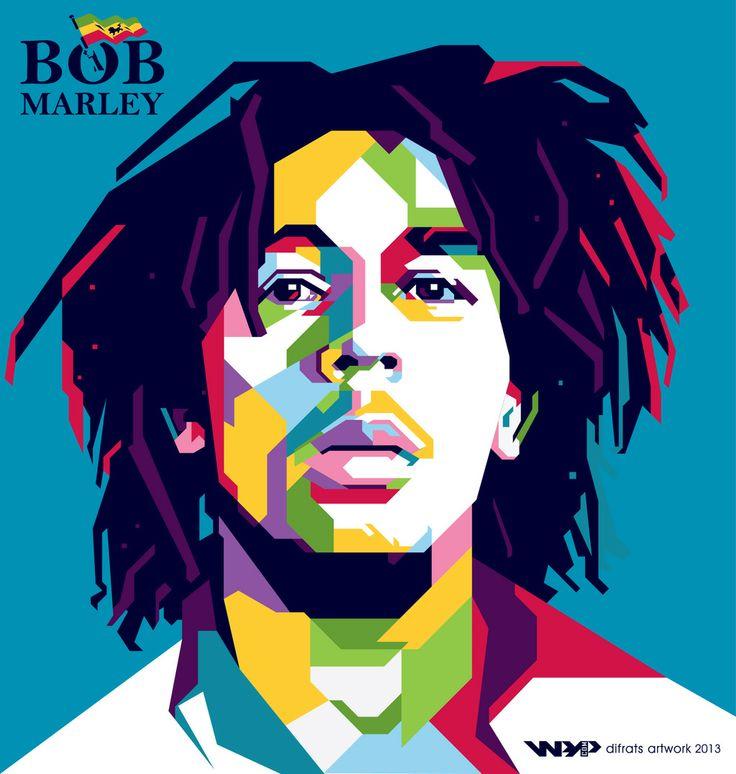 Bob Marley wpap by difrats #art #vector #tracing #bobmarley #reggae #wpap #popart