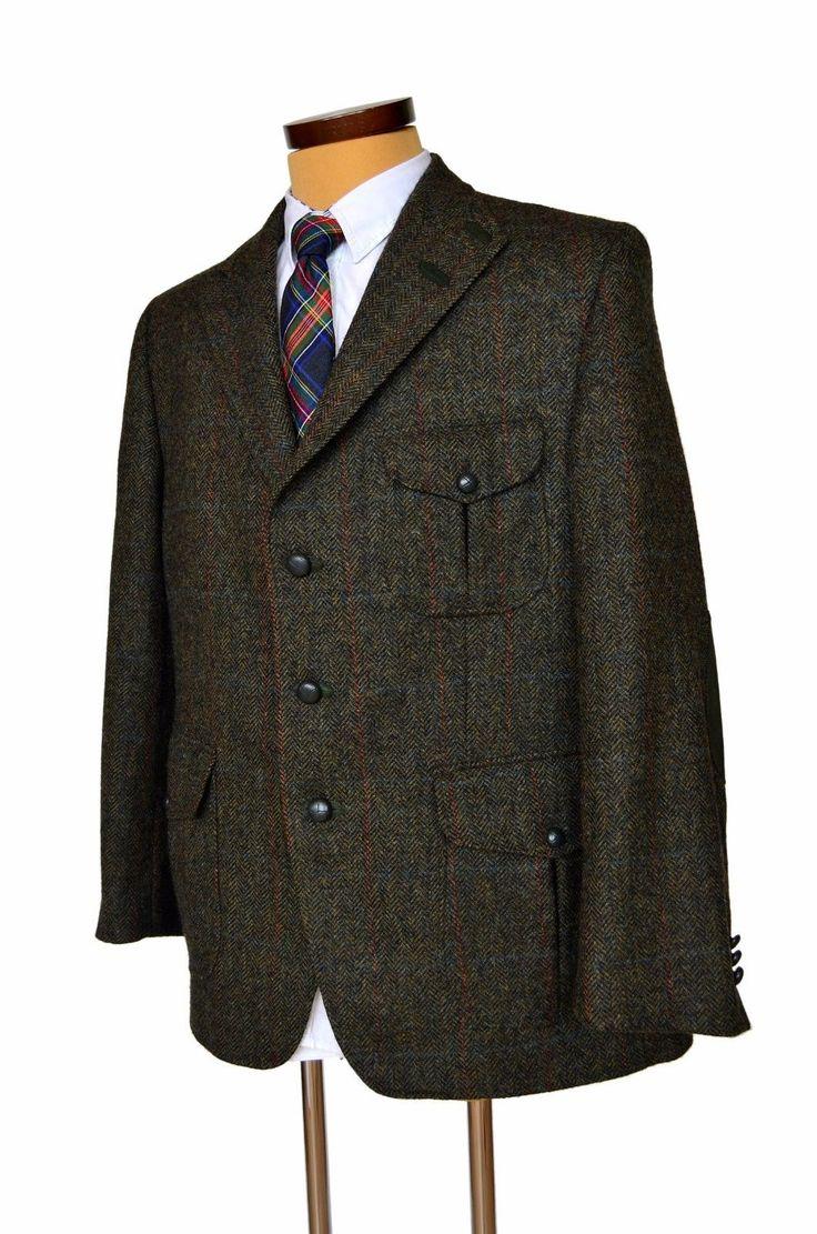 Daks London Tweed Men's Jacket Blazer Wool Herringbone Check UK 46 EU 56 | eBay