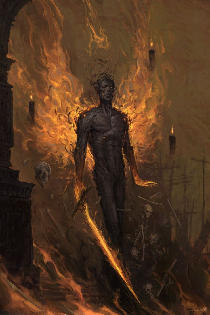 It doesn't feel hate. Nor love. It's the flame of the unavoidable future. It's fate of the damned. Anguish and sorrow. Its name is its own. Sickness, decay and despair. All shall kneel to the king ...