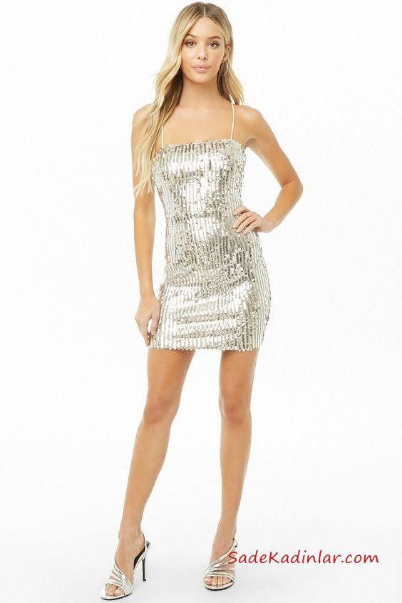 5eba35403310c Yılbaşı İçin Gece Kıyafetleri Gümüş Rengi İp Askılı Düz Yaka Payetli Kısa Abiye  Elbise #moda #fashion #fashionblogger #promdresses #evening #eveningdresses  ...