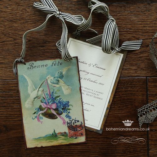 Gorgeous hanging tin cards in sets of 7 assorted vintage prints, would make wonderful gifts for a vintage inspired wedding. £3.75 per item