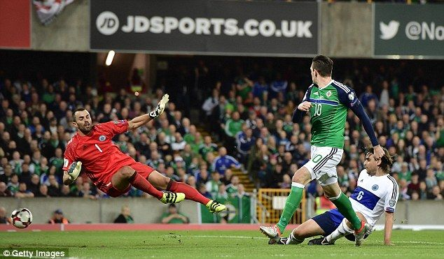 Substitute Kyle Lafferty doubled Northern Ireland's lead after 78 minutes at Windsor Park