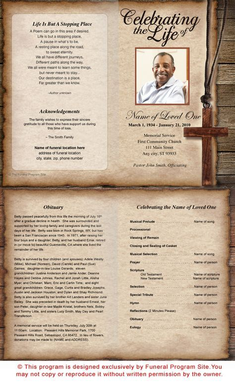 73 best Printable Funeral Program Templates images on Pinterest - funeral program template microsoft