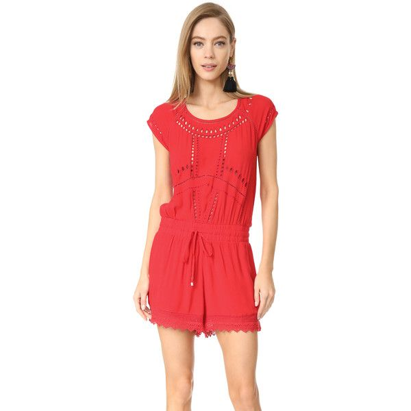 Ella Moss Broderie Anglaise Romper ($130) ❤ liked on Polyvore featuring jumpsuits, rompers, tigerlilly, ella moss, red lace romper, drawstring romper, lace romper and red romper
