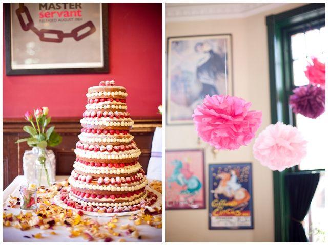 Chic Gastropub Celebration - Wedding Cake - Pompoms- Temperley Dress - Islington Town Hall London - Photography by Emma Sekhon