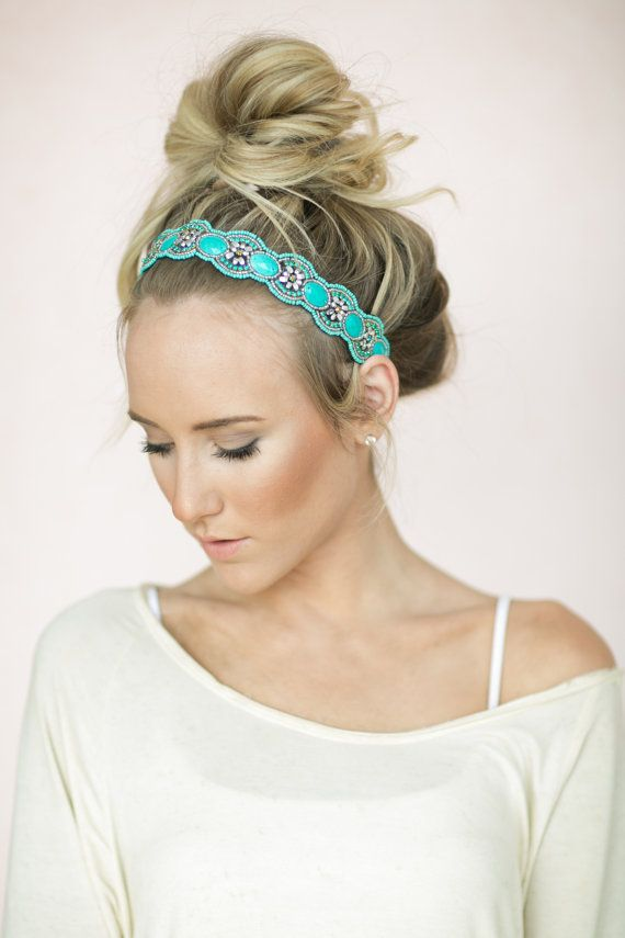 Turquoise Beaded Headband, Bohemian Hair Bands, Stretchy, Music Festival, Cute Headbands, Indian Aqua Stone Headbands (HB-172) on Etsy, $38.00