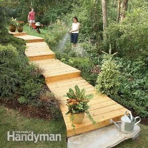 How to Build a Wooden Boardwalk for the Garden / Yard. Thinking you might be able to do something similar with discarded pallet boards.