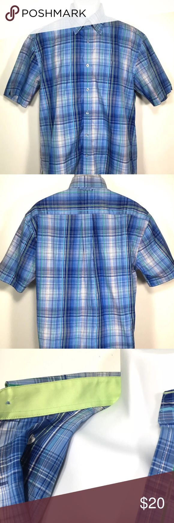 Tommy Hilfiger Blue Green Plaid Dress Shirt Size: Medium Color: Blue and Green (dominate colors) Style: 80's 2 Ply Fabric Measurements in INCHES and laying flat (approximate) Length: 32 Underarm to underarm: 23 Waist: 22.5  🌸BUNDLE AND SAVE  🌸NO TRADES - PRICE IS FIRM 🌸FEEL FREE TO ASK QUESTIONS 🌸I DO NOT MODEL Custom Sku N70 Tommy Hilfiger Shirts Casual Button Down Shirts