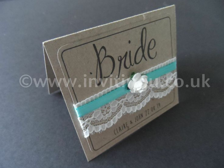 A new Collection on Vintage style wedding stationery. 'Oh So Pretty' large place name card from ©www.invitingu.co.uk