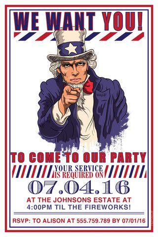 Printable Invitation Template - Uncle Sam