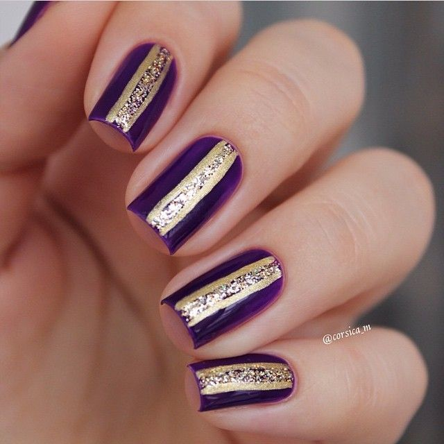 """""""GOLD LINES features 'Violet Femme' nails by @corsica_m ❤️thanks Mila :) ⭐️That Remover + Those Wipes + MoYou Stamping plates + Liquid Palisade +…"""""""