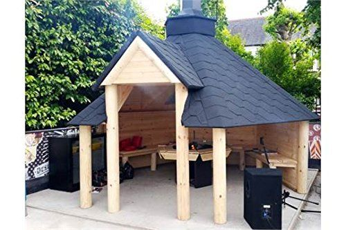 Open Wooden BBQ Hut 9.2m2 - Summer House - Grill Hut - Teak House - Comes with Bitumen Tiles, BBQ Grill/Fire with Cooking Platforms, Table around the Grill; Adjustable Chimney & 3 Interior Benches